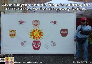 Alvin Clayton and Nisga'a painting for DTES Street Market Greenway Gallery 1000 702