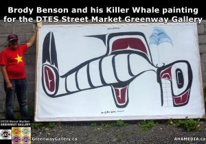 Brody Benson and his Killer Whale painting for DTES Street Market Greenway Gallery 2