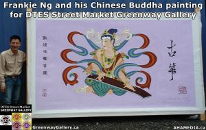 Frankie Ng and his Chinese Buddha painting for DTES Street Market Greenway Gallery 1