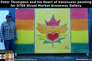 Peter Thompson and his Heart of Vancouver painting for DTES Street Market Greenway Gallery